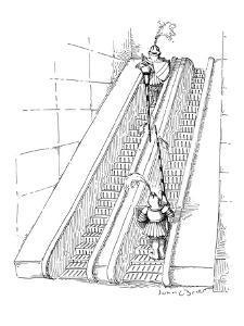 Two knights jousting on opposite escalators. - New Yorker Cartoon by John O'brien