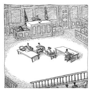 Two people sit on a modern-looking curved bench in the middle of a court-room. - New Yorker Cartoon by John O'brien