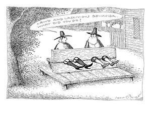 Two pilgrims in stocks.  One is wearing fishnet stockings and garters.  He? - New Yorker Cartoon by John O'brien