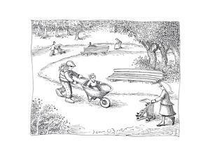 Wheelbarrow stroller - Cartoon by John O'brien