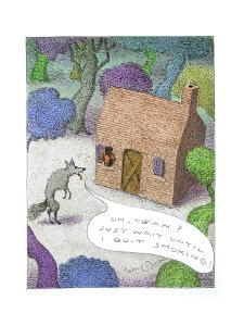 Wolf talking to pig about blowing his house down, - Cartoon by John O'brien