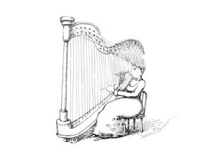 Woman playing the harp using her hair as the strings. - Cartoon by John O'brien