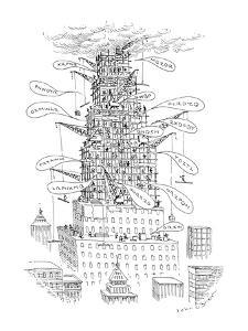 Workmen using architectural shorthand to speak to one another. - New Yorker Cartoon by John O'brien