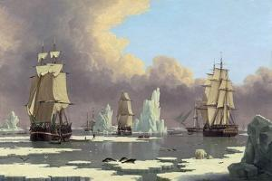 """The Northern Whale Fishery: the """"Swan"""" and """"Isabella"""", C. 1840 by John Of Hull Ward"""