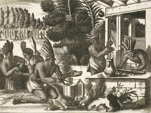 Aztecs Making Chocolate by John Ogilby