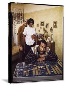 Folk Singer Richie Havens Leaning on Xylophone with Parents: Richard and Mildred in Background by John Olson