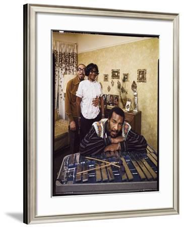Folk Singer Richie Havens Leaning on Xylophone with Parents: Richard and Mildred in Background