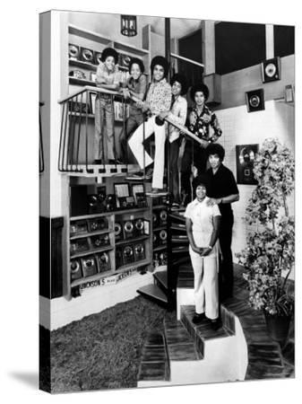 Jackson Five Michael, Marlon, Tito, Jermaine, and Jackie, with Parents Joe and Katherine Jackson
