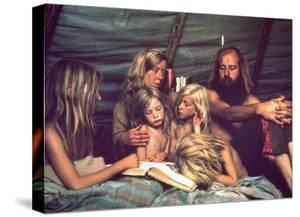 Tent Dwelling Hippie Family of Mystic Arts Commune Bray Family Reading Bedtime Stories by John Olson