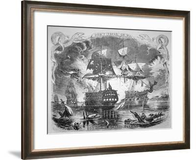John Paul Jones, Commanding the Bonhomme Richard, Defeats Hms Serapis on 23rd September 1779-Alonzo Chappel-Framed Giclee Print
