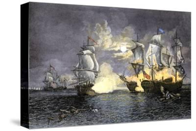John Paul Jones's Ship, Bon Homme Richard, Defeating the British Serapis, c.1779