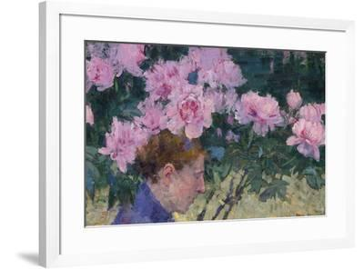 Peonies and head of a Woman