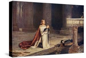 Aspirant Knight Keeping Vigil of Arms for Entry into Knighthood, Illustration from 'Romance and… by John Pettie