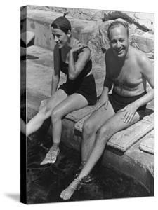 Actress Beatrice Lillie and Comedian Jack Benny Relaxing by the Pool on the French Riviera by John Phillips