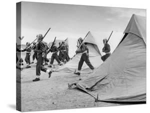 Arab Legion Men Emerging from Behind their Tents to Go to the Training Ground by John Phillips