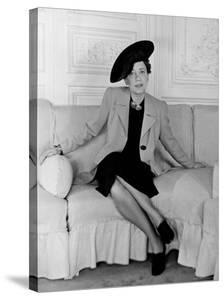 """Elsa Schiaparelli, Wearing the New Napoleon Hat and Jacket of Magenta Called """"Shocking."""" by John Phillips"""