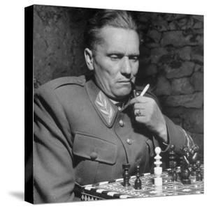 Josip Broz, aka Marshal Tito, Leader of the Yugoslavia Resistance Playing Chess at His Hq by John Phillips