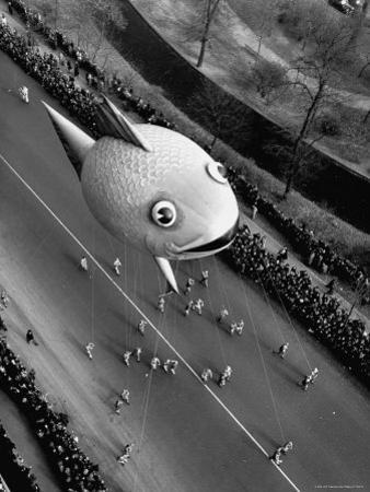 Looking Down Onto Fish Balloon and Crowds Lining Street During Macy's Thanksgiving Day Parade