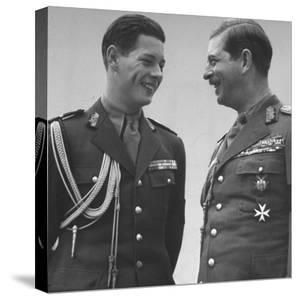Rumanian Crown Prince Michael, Laughing with His Father King Carol II by John Phillips