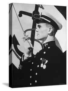 View of a Cadet at the Us Naval Academy Posing For a Picture by John Phillips