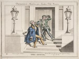 View of Two Drunken Revellers on the Steps of Crockford's Club, London, 1829 by John Phillips