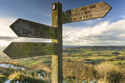 Sneck Yate signpost at Whitestone Cliffe, on The Cleveland Way long distance footpath, North Yorksh
