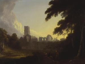 A View of Fountains Abbey, Yorkshire with a Shepherd and Two Figures in the Foreground by John Rathbone