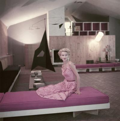 Model Sunny Harnett Seated in Architect Jos-Luis Sert's House