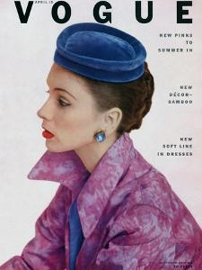 Vogue Cover - April 1952 - Topped in Blue by John Rawlings