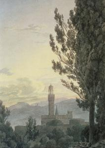 The Palazzo Vecchio from the Boboli Gardens, Florence by John Robert Cozens