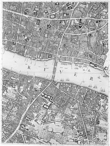 A Map of Old London Bridge, London, 1746 by John Rocque