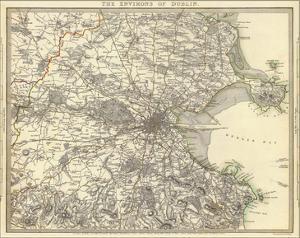 The Environs of Dublin Map, 1837 by John Rocque