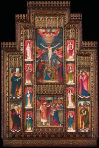 Design for Reredos at Holy Trinity Church, Florence, in Gothic Revival Frame by Bernini of Florence by John Roddam Spencer Stanhope