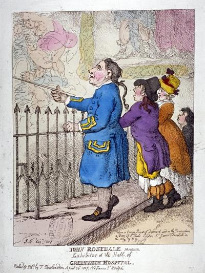 John Rosedale, Mariner, Exhibitor of the Hall of Greenwich Hospital, 1807-Thomas Rowlandson-Giclee Print