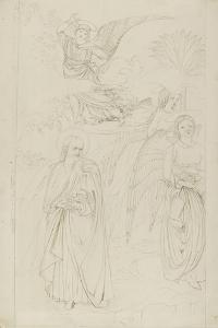 Drawing of Abraham Parting from the Angels from Benozzo Gozzoli's Story of Abraham and Hagar in the by John Ruskin