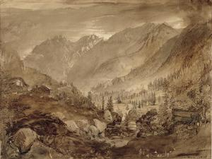 Mountain Landscape, Macugnaga, 1845 (Pen and Brown Ink and Wash over Pencil on Paper) by John Ruskin