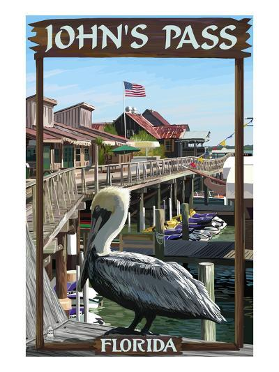 John's Pass, Florida - Pelican and Dock-Lantern Press-Art Print