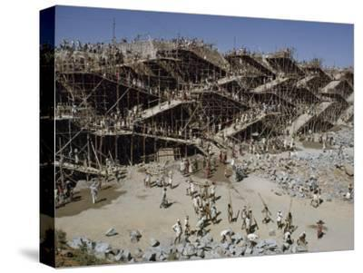 Workers Swarm over Scaffolding to Erect the Nagarjuna Sagar Dam