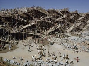 Workers Swarm over Scaffolding to Erect the Nagarjuna Sagar Dam by John Scofield