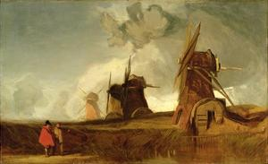 Drainage Mills in the Fens, Croyland, Lincolnshire, c.1830-40 by John Sell Cotman