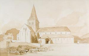 Notre Dame Sur L'Eau, Domfront, Normandy, C.1820 (Brown Wash and Graphite on Paper) by John Sell Cotman