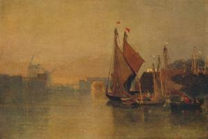 View from Yarmouth Bridge, Norfolk, Looking towards Breydon, Just after Sunset, c1823 by John Sell Cotman