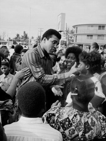 Boxer Muhammad Ali with Fans before Bout with Joe Frazier