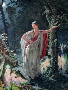 A Midsummer Night's Dream: Hermia Surrounded by Puck and the Fairies, 1861 by John Simmons