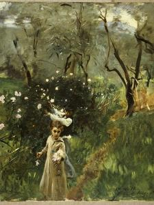 Gathering Flowers at Twilight by John Singer Sargent