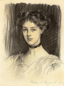 Portrait of Eva Katherine Balfour, Later Lady Buxton (1889-1978), 1911 (Black Chalk on Paper) by John Singer Sargent