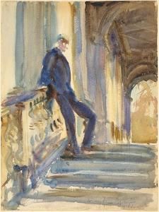 Sir Neville Wilkinson on the Steps of the Palladian Bridge at Wilton House, 1904-5 by John Singer Sargent