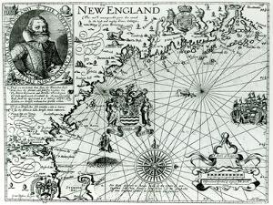 Map of the New England Coastline in 1614, Engraved by Simon de Passe by John Smith