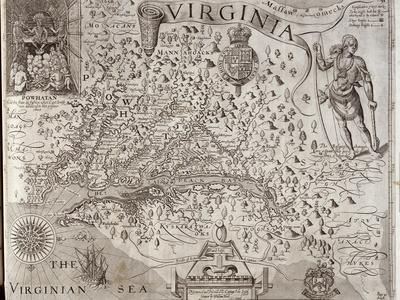 Map of Virginia, Discovered and Described by Captain John Smith, 1606, Engraved by William Hole