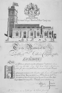 Church of St Giles Without Cripplegate, City of London, 1827 by John Sturt